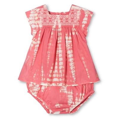 Happy by Pink Chicken Baby Girls' Tie Dye Embroidered 2-Piece Set - Fandango Pink 3-6M