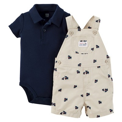 Just One You™Made by Carter's® Newborn Boys' Dog Shortall - Khaki/Navy 12M