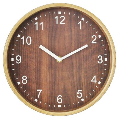 "Wood Grain Wall Clock Gold 10"" - Threshold™"