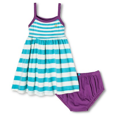 Happy by Pink Chicken Baby Girls' Stripe Knit Dress Set - Blue Tide 3-6M