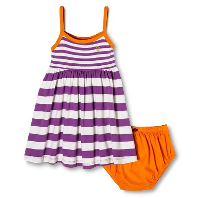 Happy by Pink Chicken Baby Girls' Stripe Knit Dress Set - Violet Tulip 6-12M