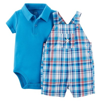 Just One You™Made by Carter's® Newborn Boys' Plaid Baseball Shortall - Blue/Teal 6M