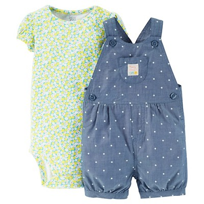 Just One You™Made by Carter's® Newborn Girls' Floral Polka Dot Shortall - Chambray/Multi 9M