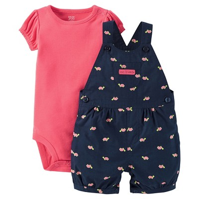Just One You™Made by Carter's® Newborn Girls' Watermelon Turtle Shortall - Navy 3M