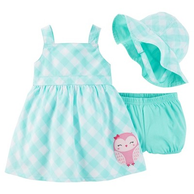 Just One You™Made by Carter's® Newborn Girls' Gingham Owl Dress & Hat Set - Yellow/Pink 3M