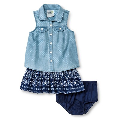 Baby Girls' Polka Dots Denim Top and Skirt Set Blue 12M - Genuine Kids from Oshkosh™