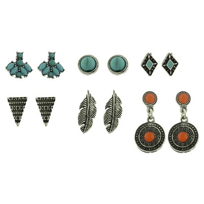 Women's 6 Pair Earrings with Triangle, Arrow, Stones and Casted Feather - Multicolor