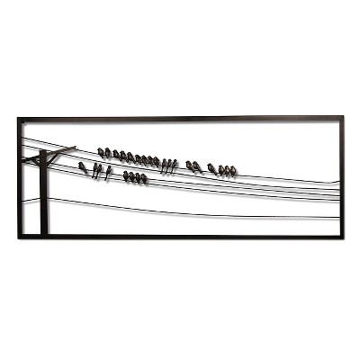 Silhouetted Birds on a Wire Wall Décor Piece