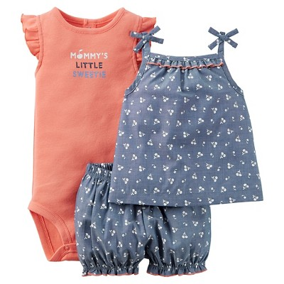 Just One You™Made by Carter's® Newborn Girls' Diaper Cover Set - Chambray/Orange 12M