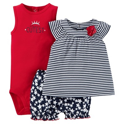 Just One You™Made by Carter's® Newborn Girls' Diaper Cover Set - Red/Navy/White 6M