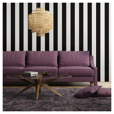 Tempaper Self-Adhesive Removable Wallpaper Stripes - Black
