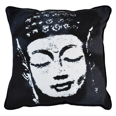 "Buddha Face Pillow - 16""x16"" - Black&White - HOT NOW®"