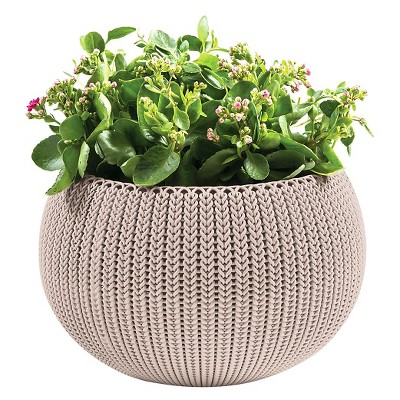 Floor Planter Curve Round Grey 14.2in