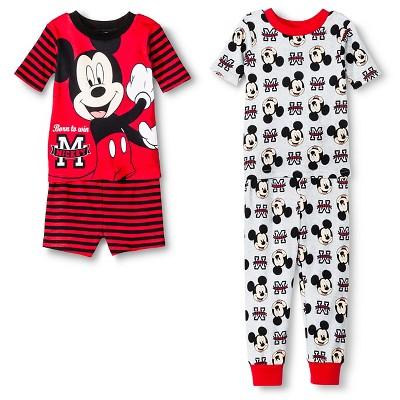Mickey Mouse Toddler Boys' 4-Piece Pajama Set Red 12M