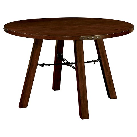 Industrial Detailed Round Dining Table Wood Dark Target
