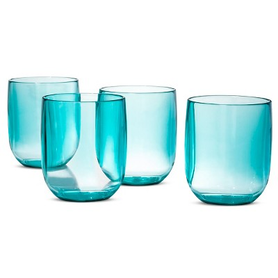 Plastic 4 pack Stemless Wine Glasses Set Green