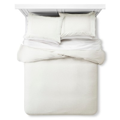 Velvet Trim Duvet & Sham Set Queen - Cream - Fieldcrest™