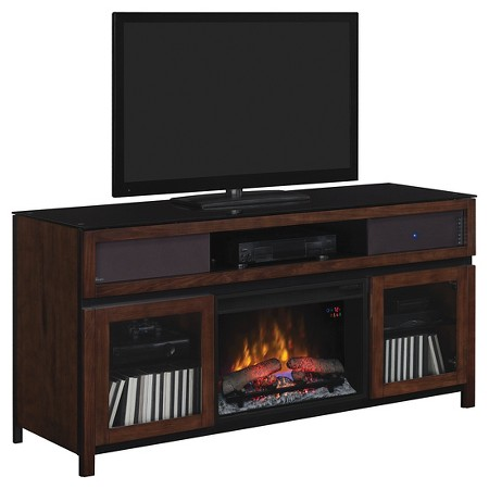 Gramercy Tv Stand With Speakers And Electric Fireplace Chocolate 67 Classicflame Target