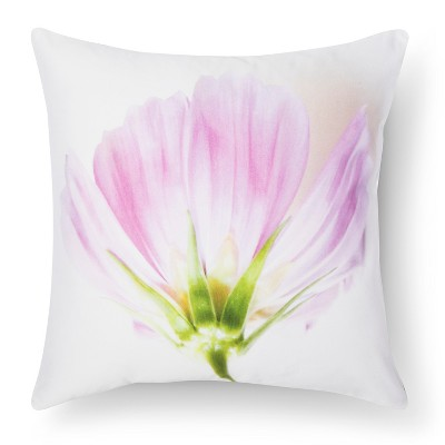 Cosmos Flower Print Pillow - Pink&White - 18x18 - STILL by Mary Jo™
