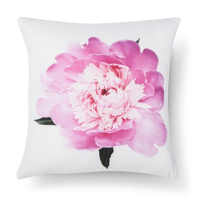 Peony Flower Print Pillow - Pink&White - 18x18 - STILL by Mark Jo™