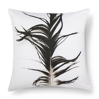 "Beach Feather Print Pillow - 18x18"" - Black&White - STILL by Mary Jo™"
