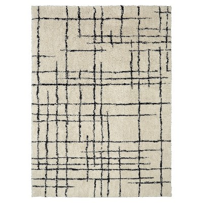 Linear Shag Area Rug Cream/Black (9' x 12') - Nate Berkus™