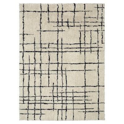 Linear Shag Area Rug Cream/Black (9' x 12') - Nate Berkus™