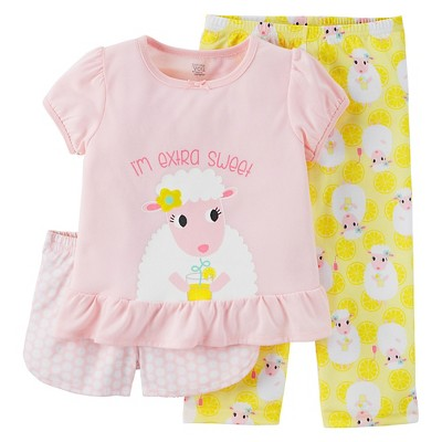 Baby/Toddler Girls' 3-Piece Pajama Set 3T - Just One You™ Made by Carter's®