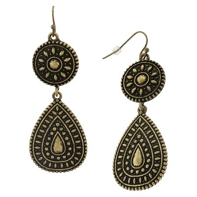 Women's Metal Fish hook Earring with Casted Circle and Teardrop - Antique Gold