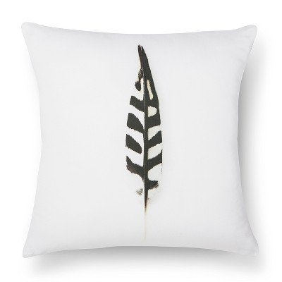 "Woodpecker Feather Print Pillow - 18x18"" - Black&White - STILL by Mary Jo™"