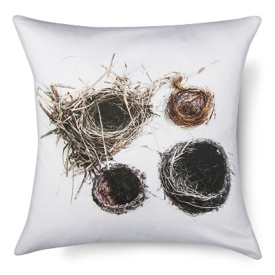 "Nests Print Pillow - 18x18"" - Neutral&White - STILL by Mary Jo™"