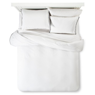 Modern Hotel Duvet & Sham Set Queen - White & Gray - Fieldcrest™