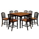 9 Piece Country Style Counter Dining Table Set Wood/Black And Antique Oak - Furniture of America