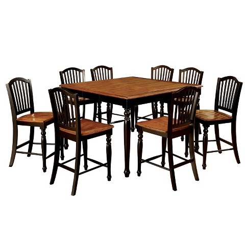 piece country style counter dining table set wood black and antique