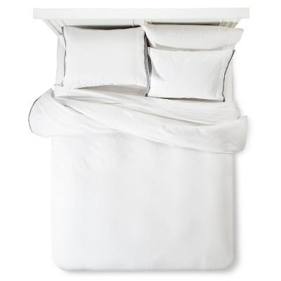 Modern Hotel Duvet & Sham Set King - White & Gray - Fieldcrest™