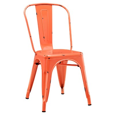 Walker Edison Metal Café Chair - Clementine Orange