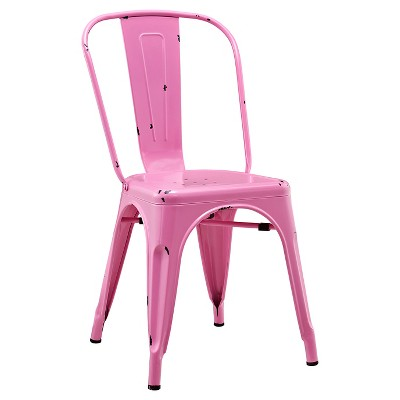 Walker Edison Metal Café Chair - Bubble Gum Pink