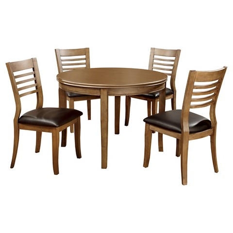 Piece Simple Round Table Dining Set Wood Natural Tone Furniture Of