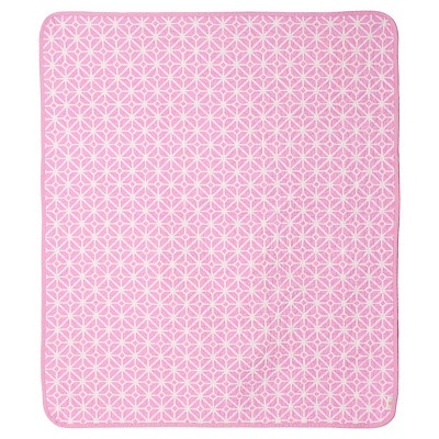 CoCaLo Audrey Crib Coverlet - Trellis/Candy Stripe - Pink