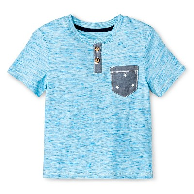 Baby Boys' Short Sleeve Henley Shirt - Blue 12M - Genuine Kids™ from OshKosh®