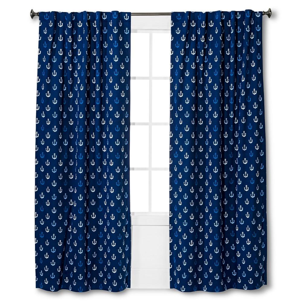 "Anchor Print Twill Light blocking Curtain Panel Blue (95""x42"") - Pillowfort"