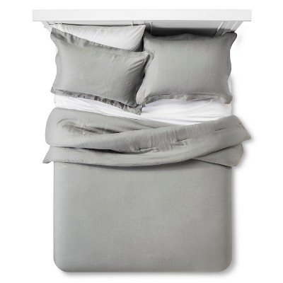 Linen Comforter & Sham Set (Full/Queen) Gray 3pc - Fieldcrest™