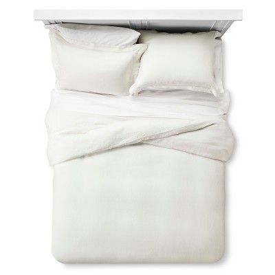 Linen Comforter & Sham Set (Full/Queen) Cream 3pc - Fieldcrest™
