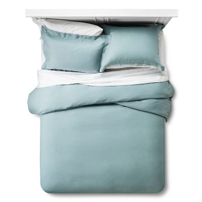 Linen Comforter & Sham Set (King) Aqua 3pc - Fieldcrest™
