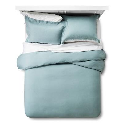 Linen Duvet Cover & Sham Set Queen - Aqua - Fieldcrest™