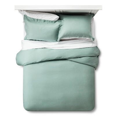 Linen Duvet Cover & Sham Set King - Green - Fieldcrest™