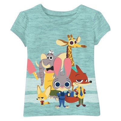 Zootopia Toddler Girls' Short Sleeve Tee - Green 2T
