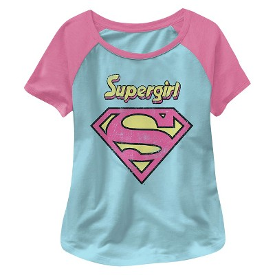 Supergirl Baby Girls' Short Sleeve Tee - Blue/Pink 12M