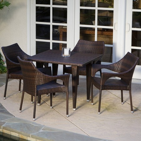 Christopher Knight Home Cliff 5 Piece Wicker Patio Dining