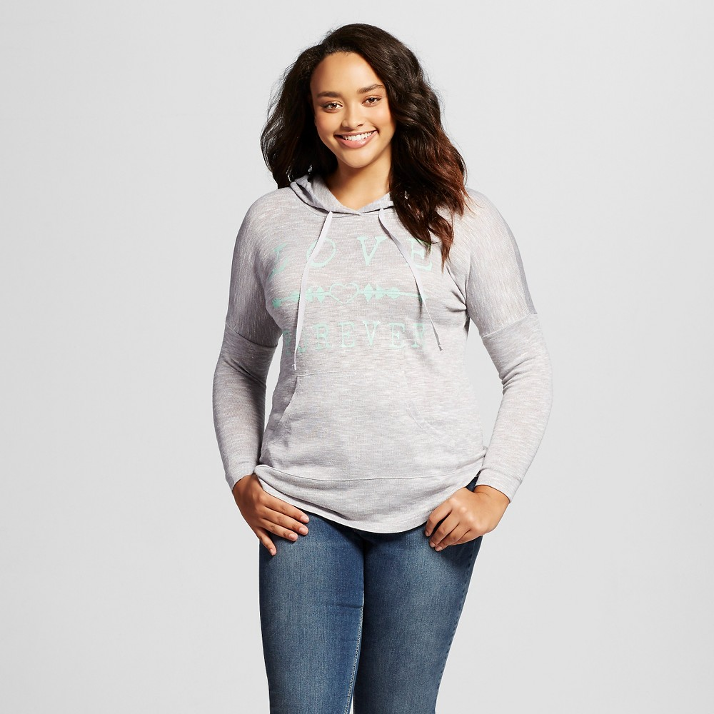 Women's Plus Size Hooded Pullover Hacci Hoodie Love Forever Silver Haze - Miss Chievous (Juniors')